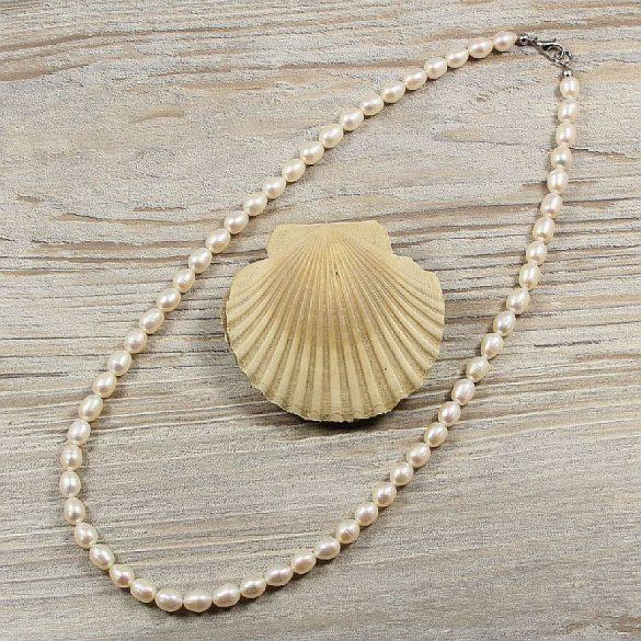 Rizsszemű, fehér tenyésztett gyöngy nyaklánc, 6,5-7 mm, 50 cm (AA)