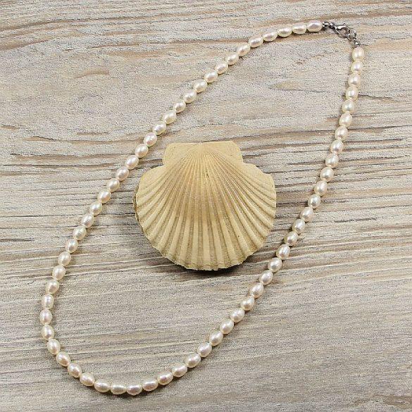 Rizsszemű, fehér tenyésztett gyöngy nyaklánc, 6-6,5 mm, 50 cm (AA)