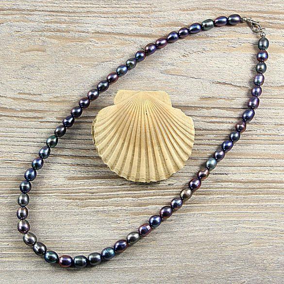 Rizsszemű, fekete tenyésztett gyöngy nyaklánc, 8-9 mm, 50 cm