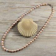 Rizsszemű, lila tenyésztett gyöngy nyaklánc, 7-8 mm, 50 cm