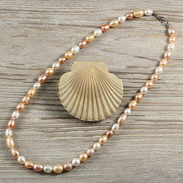 Rizsszemű, multicolor tenyésztett gyöngy nyaklánc, 8-9 mm, 50 cm
