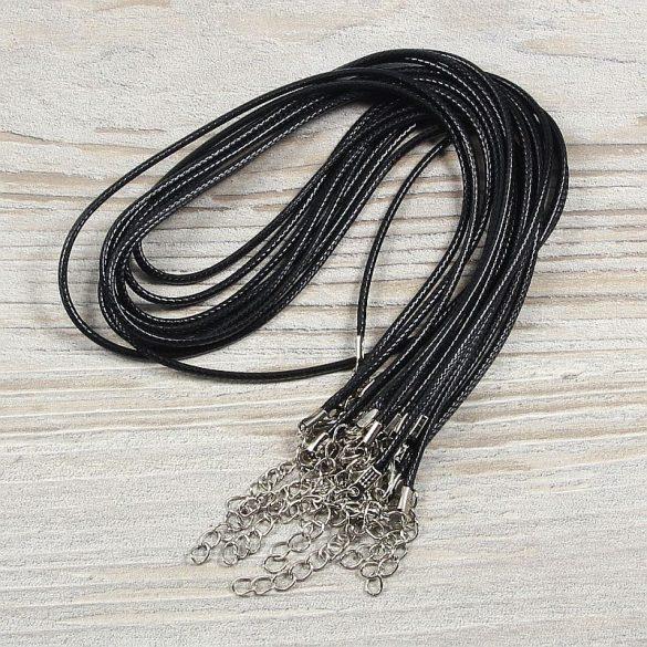 Műbőr nyaklánc, fekete kb. 45 cm + lánchosszabbító