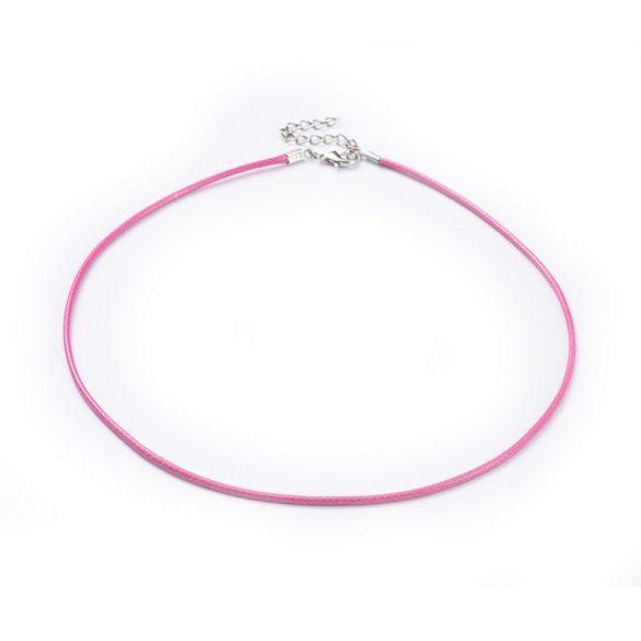 Műbőr nyaklánc, rózsaszín, kb. 47 cm + lánchosszabbító
