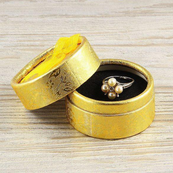 Díszdoboz, kerek, arany, kb. 5 cm