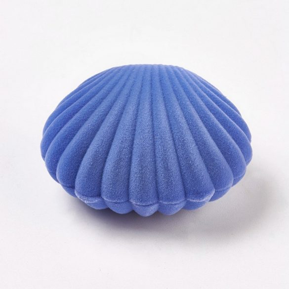 Díszdoboz, plüss, kagyló forma, kék, kb. 5x6 cm