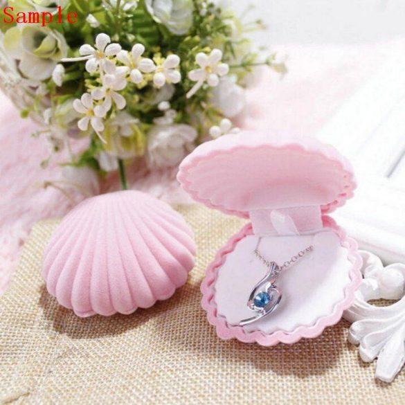 Díszdoboz, plüss, kagyló forma, rózsaszín kb. 5x6 cm