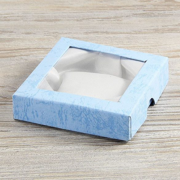 Díszdoboz, selyembéléses, ablakos, kék, kb. 9x9 cm