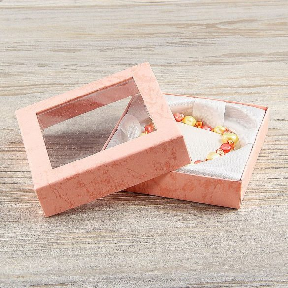 Díszdoboz, selyembéléses, ablakos, rózsaszín, kb. 9x9 cm