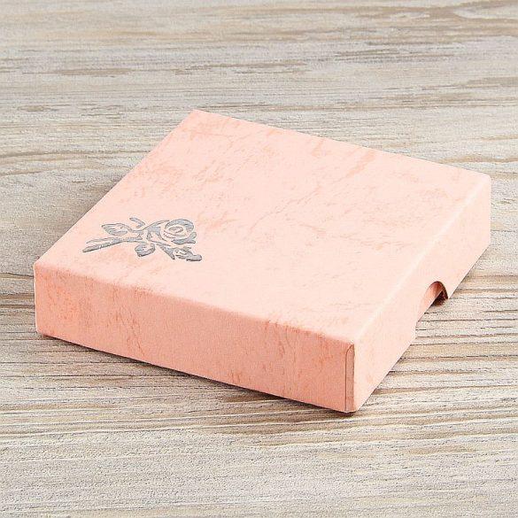 Díszdoboz, selyembéléses, rózsaszín, kb. 9x9 cm