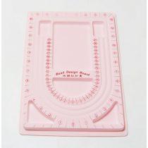 Gyöngyfűző tálca, rózsaszín, 24x33 cm