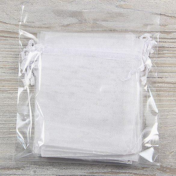 Tasak, tüll, kb. 10x12 cm, fehér (10 db)