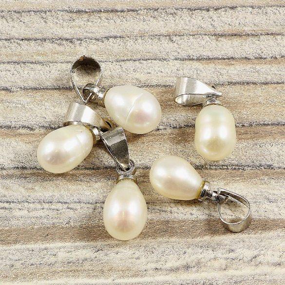Tenyésztett gyöngy csepp medál, kb. 7-8 mm