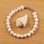 Barokk fehér tenyésztett gyöngy karkötő, 7,5-8,5 mm