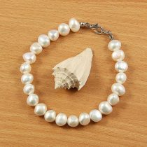 Barokk fehér tenyésztett gyöngy karlánc, 7,5-8,5 mm