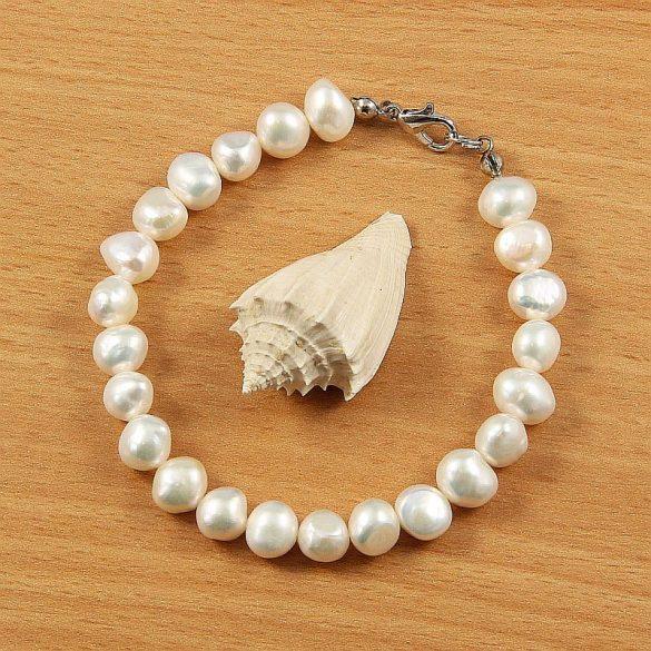 """""""Megújulás"""" Barokk fehér tenyésztett gyöngy karkötő, 7,5-8,5 mm"""