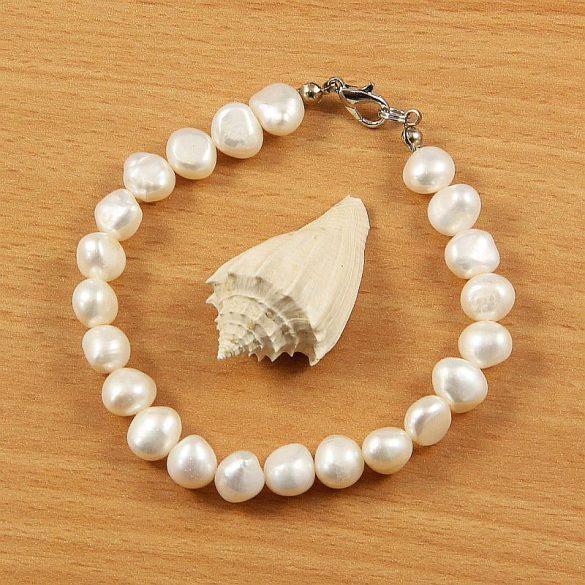 Barokk, fehér tenyésztett gyöngy karkötő, 8,5-9,5 mm