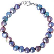 Barokk, fekete tenyésztett gyöngy karkötő, 7,5-8,5 mm