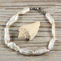 Biwa, fehér, hosszában fúrt tenyésztett gyöngy karkötő, 7x20 mm
