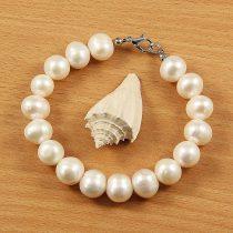 Potátó, fehér tenyésztett gyöngy karkötő, 10,5-11,5 mm