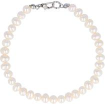 Potátó, fehér tenyésztett gyöngy karkötő, 5-5,5 mm (AA)