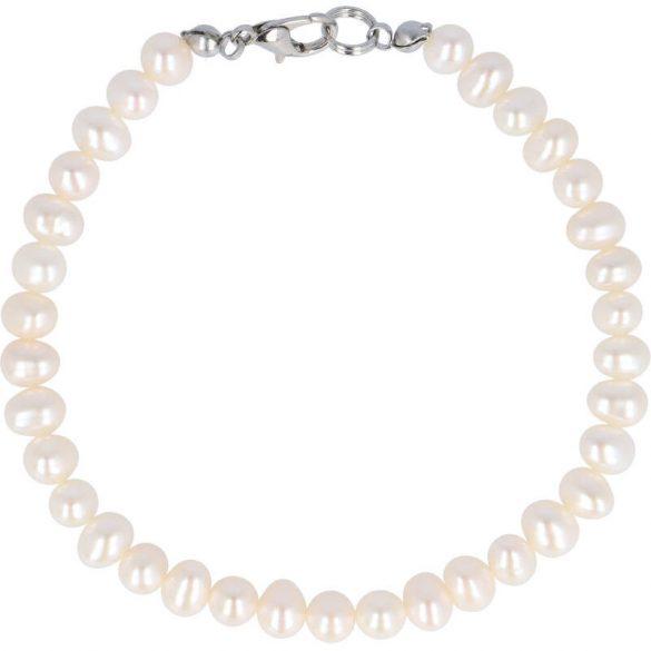 Potátó, fehér tenyésztett gyöngy karlánc, 5-5,5 mm (AA)