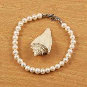 Potátó, fehér tenyésztett gyöngy karlánc, 5,5-6 mm (AA)
