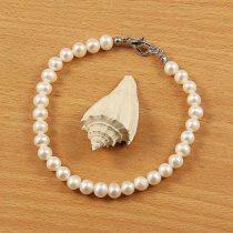 Potátó, fehér tenyésztett gyöngy karkötő, 5,5-6 mm (AA)