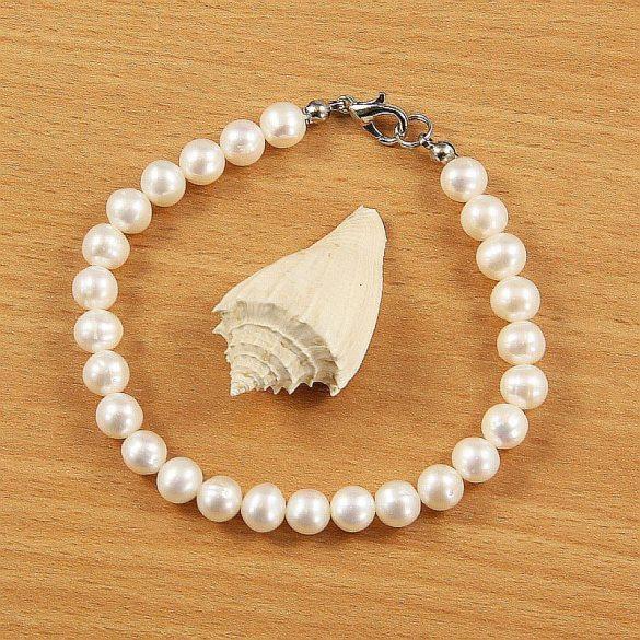 Potátó, fehér tenyésztett gyöngy karkötő, 6,5-7 mm (AA)