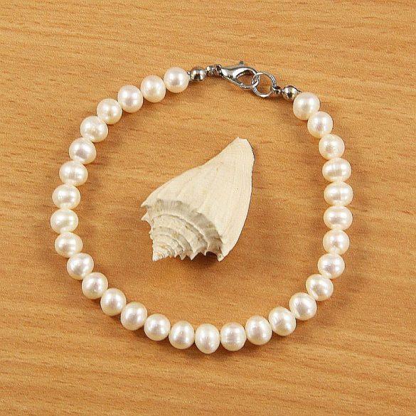 Potátó, fehér tenyésztett gyöngy karkötő, 6-6,5 mm (AA)