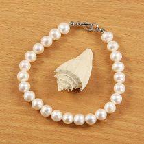 Potátó, fehér tenyésztett gyöngy karkötő, 7,5-8 mm (AA)