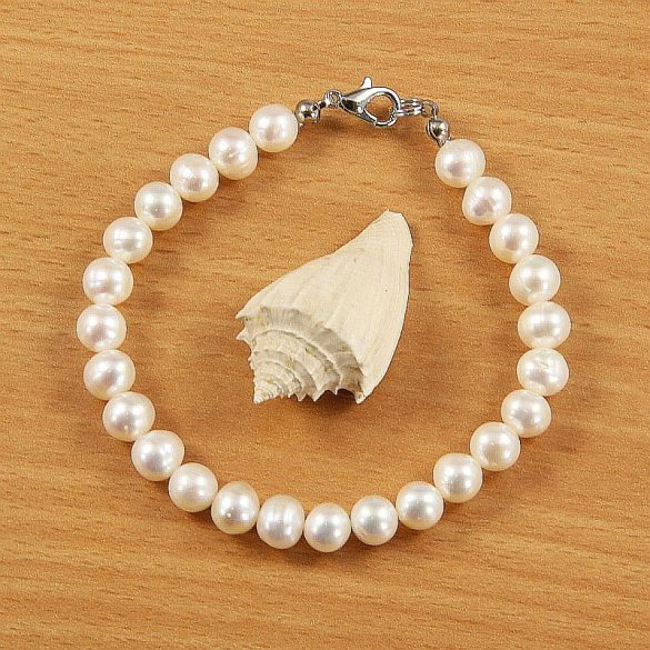 Potátó, fehér tenyésztett gyöngy karkötő, 7-7,5 mm (AA)
