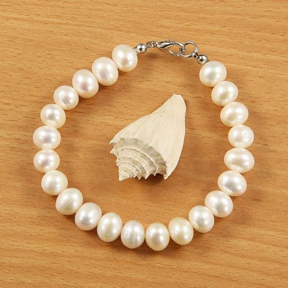 Potátó, fehér tenyésztett gyöngy karkötő, 8,5-9,5 mm