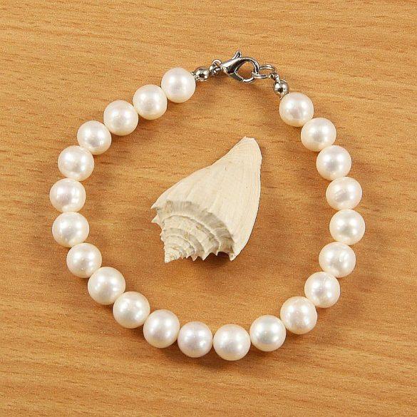 Potátó, fehér tenyésztett gyöngy karkötő, 8-8,5 mm