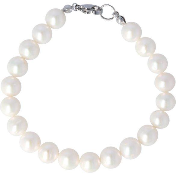 Potátó, fehér tenyésztett gyöngy karkötő, 8-8,5 mm (AA)