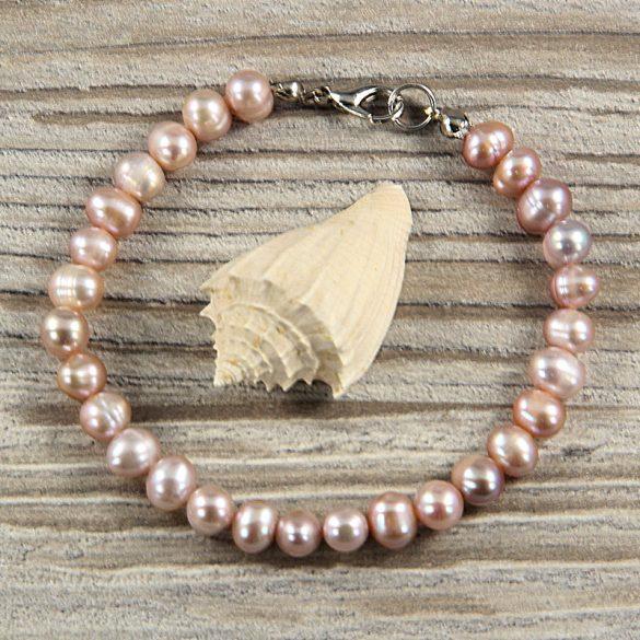 Potátó, lila tenyésztett gyöngy karkötő, 5-6 mm