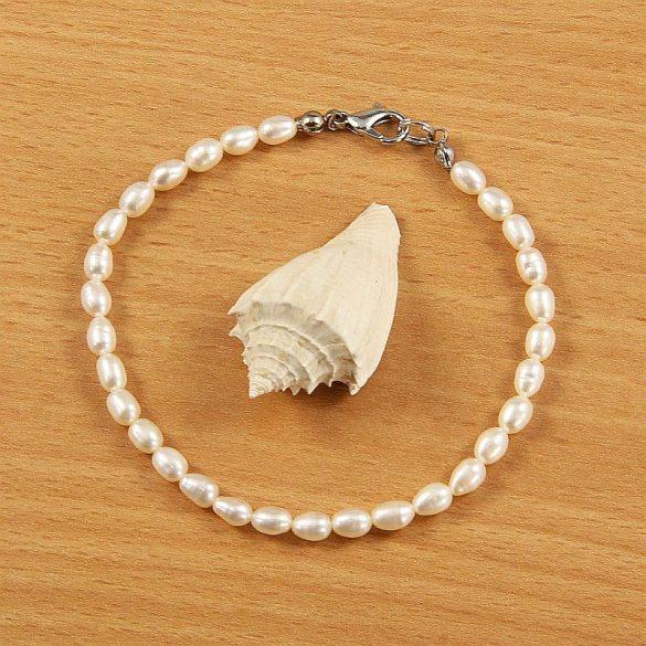 Rizsszemű, fehér tenyésztett gyöngy karkötő, 4-4,5 mm (AA)