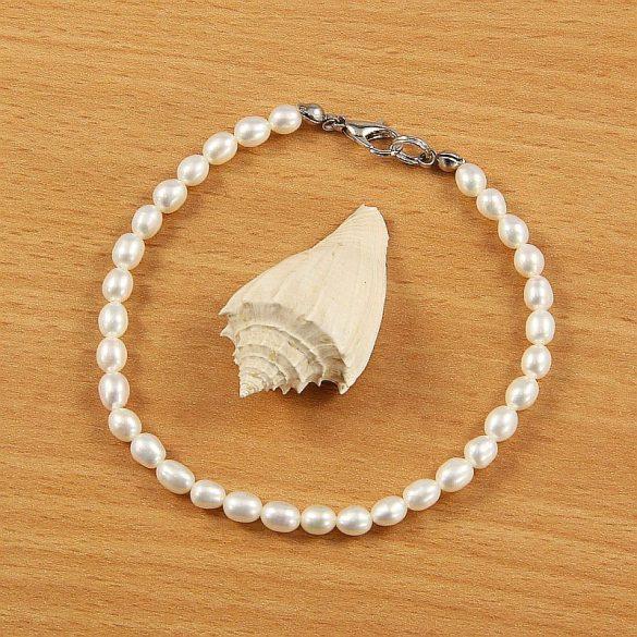 Rizsszemű, fehér tenyésztett gyöngy karkötő, 4-5 mm