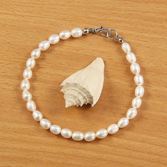 Rizsszemű, fehér tenyésztett gyöngy karkötő, 5-5,5 mm (AA)