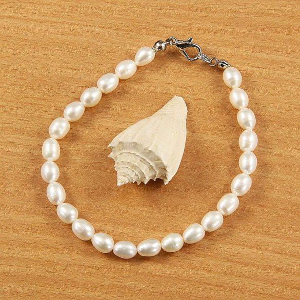Rizsszemű, fehér tenyésztett gyöngy karkötő, 5,5-6 mm (AA)