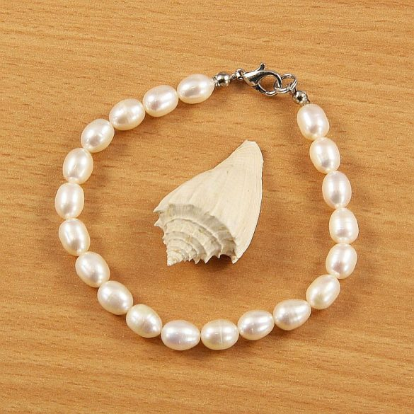 Rizsszemű, fehér tenyésztett gyöngy karkötő, 6,5-7 mm (AA)