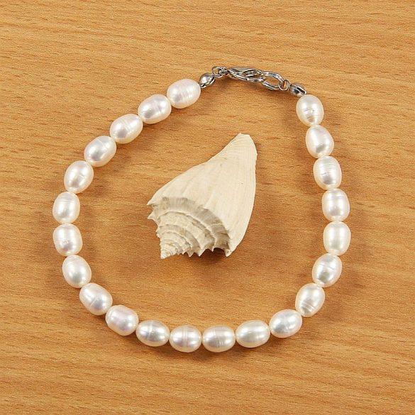 Rizsszemű, fehér tenyésztett gyöngy karkötő, 6-6,5 mm