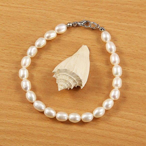 Rizsszemű, fehér tenyésztett gyöngy karkötő, 6-6,5 mm (AA)
