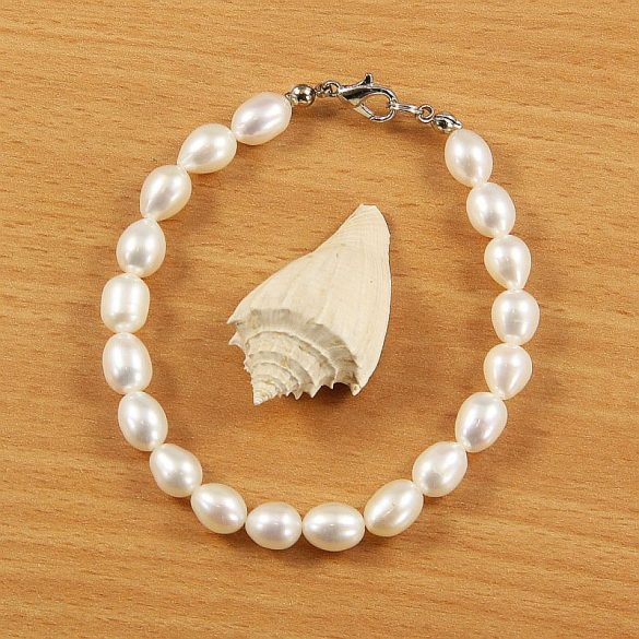 Rizsszemű, fehér tenyésztett gyöngy karkötő, 7-7,5 mm (AA)