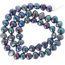 Barokk, fekete tenyésztett gyöngy alapanyagszál, 7,5-8,5 mm, kb. 40 cm