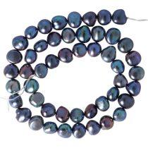 Barokk, fekete tenyésztett gyöngy alapanyagszál, 8,5-9,5 mm, kb. 40 cm
