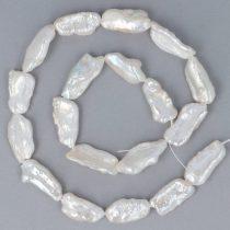 Biwa, fehér, hosszában fúrt, tenyésztett gyöngy alapanyagszál, 7x20 mm, kb. 40 cm