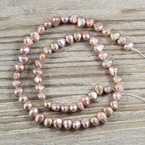 Barokk, lila tenyésztett gyöngy alapanyagszál, 5-6 mm, kb. 40 cm