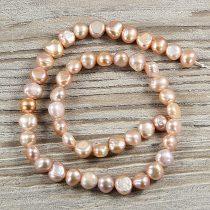 Barokk, lila tenyésztett gyöngy alapanyagszál, 8-9 mm, kb. 40 cm