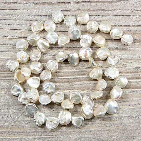 Keshi, szürke tenyésztett gyöngy alapanyagszál, 6-8 mm, kb. 40 cm