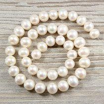Potátó, fehér tenyésztett gyöngy alapanyagszál, 10-11 mm, kb. 40 cm (AA)